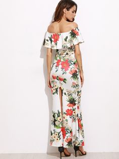 432bc051350 White Off-Shoulder Floral Printed Fishtail Maxi Dress