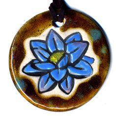 Lotus Flower Ceramic Necklace In Brown and Blue by surly on Etsy, $20.00