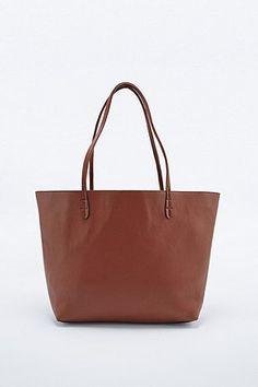 New Reversible Vegan Leather Tote Bag in Tan - Urban Outfitters