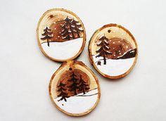 Hölzerne original Christbaumkugel für Weihnachtsbaum von HolgaArt