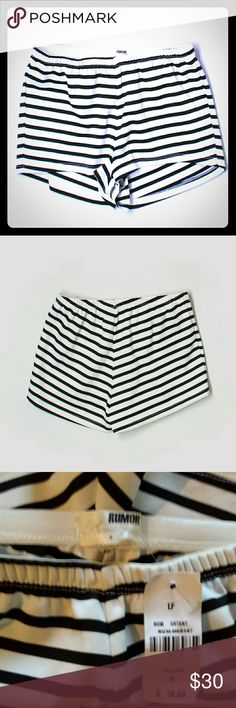 "NWT LF Rumor Boutique Black & White Striped Shorts Elastic waistband  Measurements laying flat- Length 9 1/2"" Waist 13"" stretches to 18"" Hips 17""  #NWT #lf #rumor #boutique #black #white #blackandwhite #stretchy #comfy #striped #stripes #shortshorts #spring #summer #boho #beach #bonfire #swim #vacation #holiday #party #event  M2 LF Shorts"
