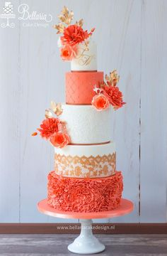 Get inspired by this orange beauty by Satin Ice Artist of Excellence Riany Clement of Bellaria Cake Design Beautiful Wedding Cakes, Gorgeous Cakes, Pretty Cakes, Amazing Cakes, Fancy Cakes, Mini Cakes, Bolo Cake, Wedding Cake Inspiration, Wedding Cake Designs