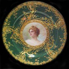 Antique Dishes | Artist Signed Limoges Portrait Plate c.1884- 1914