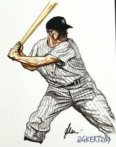 Baseball Art, Mickey Mantle, Sports Art, Mlb