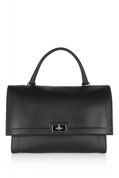 Black textured-leather (Calf) Top handle, detachable shoulder strap Gunmetal hardware, feet Internal zipped and patch pockets Fully lined in stone suede Signature shark twist lock-fastening front flap Comes with dust bag Weighs approximately Purses And Handbags, Leather Handbags, Leather Bag, Black Leather, Givenchy Shark, Givenchy Bags, White Ankle Boots, Shoulder Strap, Purses