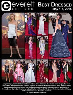 Large images, from left: Charlize Theron in Dior; Katie Holmes in Zac Posen. Small images, top row: Joan Smalls in Roberto Cavalli; Amanda Seyfried in Givenchy. Middle row: Olivia Wilde in Prada; Emily Ratajkowski in Topshop. Bottom row: Rosie Huntington-Whiteley in Rodarte; Kerry Washington in Prada; Zhang Ziyi in Carolina Herrera; Bee Shaffer in Alexander McQueen; Rosie Huntington-Whiteley in Atelier Versace; Keri Russell in Altuzarra. All Photos: Everett Collection