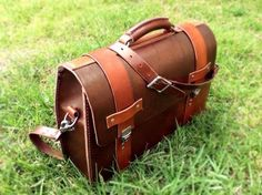 How to: Make a Custom Leather Briefcase from Scratch (with a Secret Stash Pocket) | Man Made DIY | Crafts for Men | Keywords: bag, sewing, work, DIY