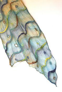 "Nuno Felted Wrap Scarf 50/50 Tencel tops / Australian merino wool, cotton gauze. Length 100 3/4"" (256 cm) Width 17 3/4"" ( 45 сm) Weight 3,2 oz (90 gm)"