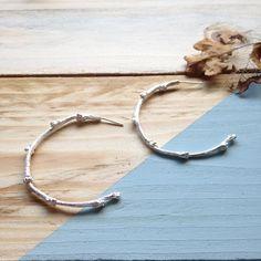 Unique twig hoop earrings in recycled sterling solver Handmade Silver, Hummingbird, Earrings Handmade, My Etsy Shop, Hoop Earrings, Sterling Silver, Beautiful, Jewelry, Jewlery