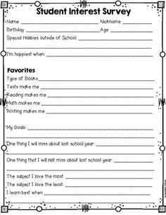 Free Printable Get To Know You Activity For The First Week Of
