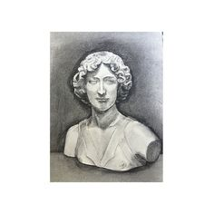 Pre-Owned Charcoal Drawing Classical Female Bust ($195) ❤ liked on Polyvore featuring home, home decor, black and white home decor and black white home decor