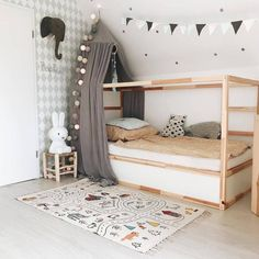 Noah and Phoebe have been asking for bunk beds for a while. I decided to go for the IKEA Kura and turn them into bunks. Big Girl Rooms, Boy Room, Cute Girls Bedrooms, Ikea Kura Bed, Kura Bed Hack, Ideas Habitaciones, Kid Beds, Bunk Beds, Bedroom Decor
