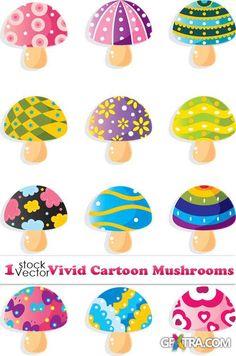 Vectors - Vivid Cartoon Mushrooms