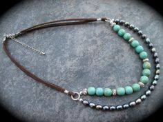 Leather and Pearls double strand necklace by HeidiDiCesareDesigns, $20.00