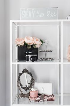 Cozy Glam Bedroom (+ How to Add Hygge to your Home A cozy and glamorous white, black and blush pink bedroom.A cozy and glamorous white, black and blush pink bedroom. Blush Pink Bedroom, Pink Bedroom Decor, Glam Bedroom, Pink Bedrooms, Stylish Bedroom, Bedroom Black, Bedroom Ideas, Bedroom Designs, Black White Bedrooms