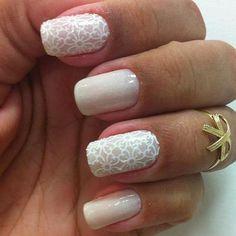 Delicate in white Cute Nail Art, Cute Nails, Pretty Nails, My Nails, Garra, Nail Arts, Nails Inspiration, Beauty Nails, Nail Colors
