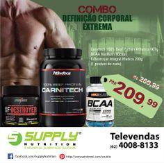 """Combo """"definição corporal extrema""""  F- Destroyer é um potente termogênico que auxilia na perda de gordura. O BCAA favorece a definição muscular enquanto que o Carnitech otimiza o crescimento muscular."""