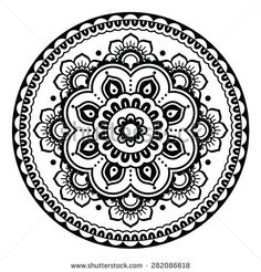 Indian, Mehndi Henna floral tattoo round pattern by RedKoala