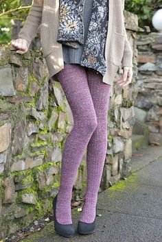 These sweater-like tights pack a lot of pattern and texture into one piece, from their heathered colors to the vertical bands of diamonds and ribbing! Funky Tights, Purple Tights, White Tights, Opaque Tights, Fall Fashion Tights, Cozy Fashion, Fashion Pants, Skirt Leggings, Tight Leggings