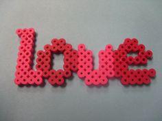 Love perler beads by Amanda L. Perler Bead Designs, Hama Beads Design, Diy Perler Beads, Perler Bead Art, Pearler Beads, Fuse Beads, Perler Earrings, Melty Bead Patterns, Hama Beads Patterns