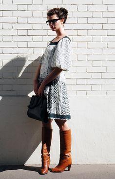 can't resist a lovely dress paired with boots and a pair of glasses. Sélection de septembre | Les Composantes – Le blog