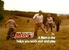 "1970's TV advert for Mars Bar. ""A Mars a day helps you work rest and play"" (yeah, right!)"