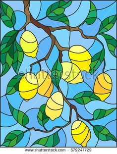 Illustration in the style of a stained glass window with the branches of lemon tree , the fruit branches and leaves against the sky