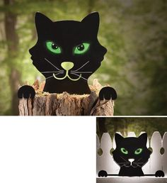 Black Cat Tree Stump Sitter and Fence Topper