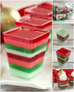 Layered Christmas Jello cups are fun, festive and easy to make for holiday parties! This layered Jello recipe is made with cherry and lime gelatin for a delicious flavor combination in the perfect colors for Christmas! Christmas Deserts, Christmas Party Food, Holiday Parties, Christmas Bread, Christmas Entertaining, Christmas Goodies, Christmas Stuff, Christmas 2019, Jello With Cool Whip