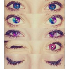 Galaxy eyes colored contacts. Eyes ❤ liked on Polyvore featuring beauty products, eyes, makeup, beauty and pictures