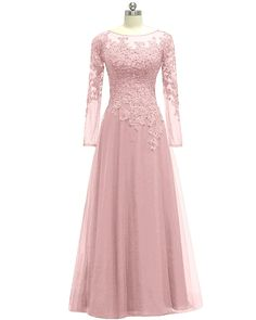 Women's Appliques Tulle Mother Of The Bride Dress Long Sleeves Evening Formal Gown - Hijab+ Trendy Dresses, Women's Dresses, Dress Outfits, Nice Dresses, Casual Dresses, Formal Dresses, Fashion Dresses, Long Dresses, Fashion 2017