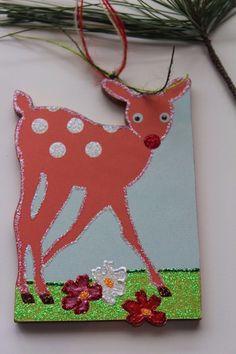 Woodland Baby Fawn Signed Lichtenstein Wood Glitter Easter Christmas Ornament #SybilleLichtenstein