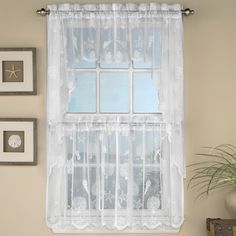 Reef Marine Knitted Lace Kitchen Tier Curtain
