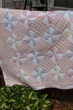 Charming pink Pinwheel quilt queen size by QuiltsByTheLake on Etsy, $325.00