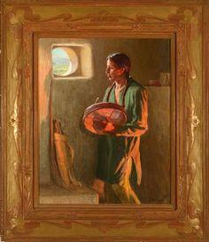 joseph henry sharp artist | Joseph Henry Sharp At a Pueblo Window, Taos 20 x 16 in. (50.8 x 40.6 ...