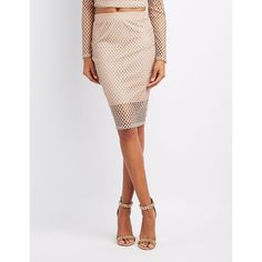 Charlotte Russe Fishnet Pencil Skirt ($19) ❤ liked on Polyvore featuring skirts, taupe, pencil skirt, taupe pencil skirt, white high waisted skirt, white bodycon skirt and high waist knee length pencil skirt