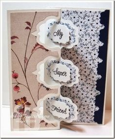 Card created by Frances Byrne using Sizzix Triple Fancy Label Flip-its a Framelits. Projected designed by Gai Clark