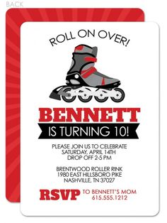 Boys roller skating - roller blading birthday invitation
