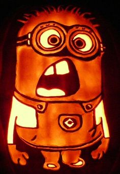 Carved Pumpkin- Here's my latest Despicable Me Minion.  These seem to be pretty popular.  Please see all my pumpkins at the Ken's Pumpkin Patch Board.  This is a pattern by stoneykins.com.