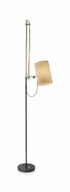 GIUSEPPE OSTUNI ATTRIBUTED METAL, PAINTED METAL AND PLASTIC ADJUSTABLE FLOOR LAMP CIRCA 1955