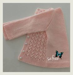 Pink Cardigan for our sweety girls. Knitting For Kids, Crochet For Kids, Crochet Baby, Baby Cardigan Knitting Pattern Free, Baby Knitting Patterns, Baby Vest, Baby Boy, Stylish Jackets, Knitted Coat