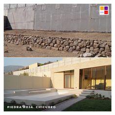 Hermosa piscina diseñada y construida en Chicureo. Santiago de Chile Pergola, Outdoor Structures, Wood, Swimming Pool Construction, Santiago, Decks, Houses, Rock, Woodwind Instrument