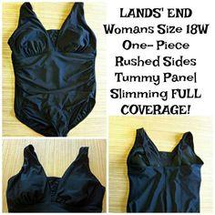 ec61c9c11e Details about LANDS' END Women's Size 18W One Piece Tummy Panel Slimming  SWIMSUIT - Black