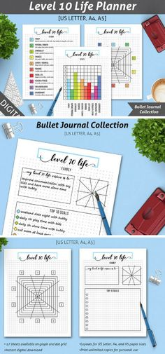 Are you living your 'Level 10 Live'? The easiest way to find out how far you are from your goals and then get there is to plan them first. The 'Level 10 Life' Planning Kit is designed for Bullet Journal lovers - no need to draw everything yourself. Available in both graph and dot grid layouts.US Letter, A4 and A5 paper sizes available in separate files.THE LEVEL 10 LIFE PLANNING KIT INCLUDES 17 SHEETS, CLICK TO LEARN MORE! #bulletjournals #level10life #ad #printable #goals #goalplanning