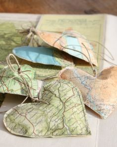Vintage Map Hearts, I love maps and what a way to make some cool things with them.