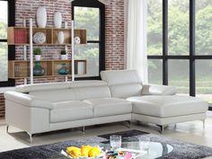 Canapé d'angle en cuir SOLANGE Ivoire - Angle droit prix promo Canapé Vente Unique 8999.99 € TTC prix constaté* : 1 499 €