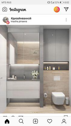 Small Bathroom Interior, Modern Bathroom Decor, Modern Bathroom Design, Minimalist Small Bathrooms, House Front Design, Toilet Design, Closet Designs, Apartment Interior, Home Decor