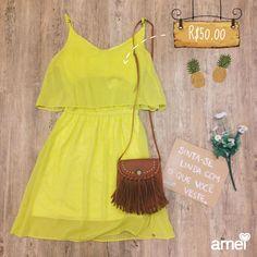 Vestido levinho da promo  R$50,00av  #lojaamei #vestido #amarelo #leve #abacaxi #promo