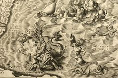 Various fantastic creatures and sea monsters from a map of the Americas by Diego Gutiérrez, 1562