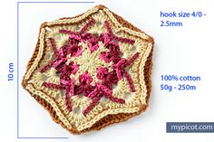 MyPicot #4030 | Free Hexagon crochet pattern  - Written pattern & Photo tutorial